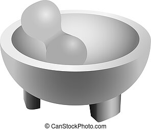 Ceramic mortar and pestle for cooking Vector illustration