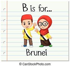 Flashcard letter B is for Brunei illustration