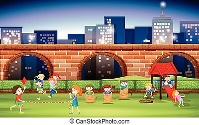 Children playing in the park at night illustration