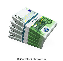 Stacks of 100 Euro Banknotes isolated on white background 3D...
