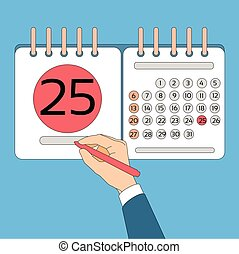 Calendar Hand Hold Pen 25 Last Financial Statements Date...