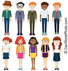 Men and women in different costumes illustration