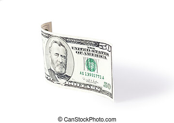 paper currency wave on white background