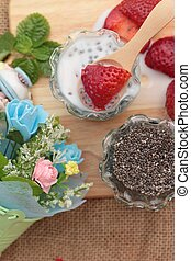 Chia seeds with milk and fresh strawberries