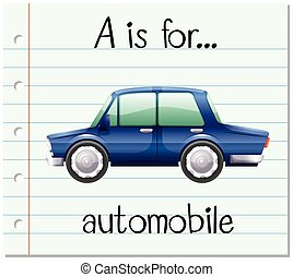 Flashcard letter A is for automobile