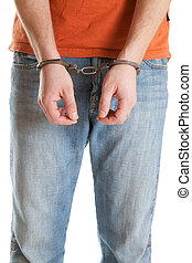 handcuffed man on white background