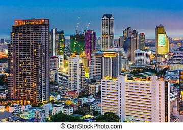 Bangkok Financial District Cityscape - Bangkok, Thailand,...