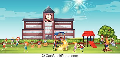 Children playing at the school yard illustration
