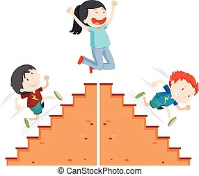 Boys running up and down the stairs illustration