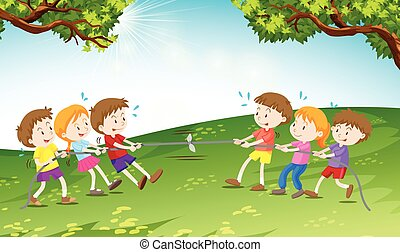 Boys and girls playing tug of war illustration
