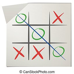 Tic tac toe on white paper illustration