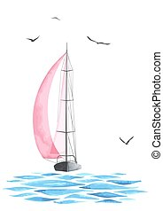 Boat with sails and seagulls - Sailboat in the sea and...