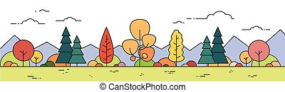 Autumn Forest Mountain Landscape Fall View Thin Line Banner