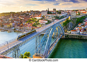 Porto Porgutal Bridge - Porto, Portugal cityscape on the...