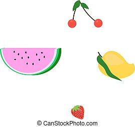 Set of four fruits - Contains mango, watermelon, cherry and...