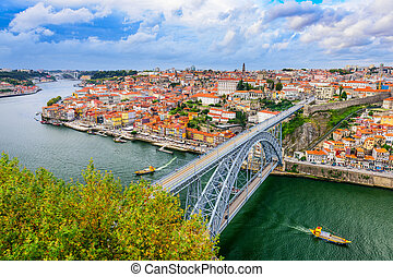 Porto Portugal Bridge - Porto, Portugal cityscape on the...