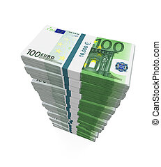Stacks of 100 Euro Banknotes isolated on white background....