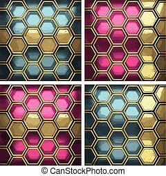 vector metal background set with golden element