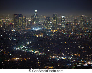 Los Angeles Night - City of the Angeles Late night view from...