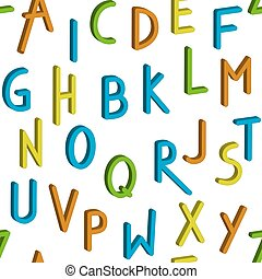 Seamless childrens bright alphabet pattern. Vector background.