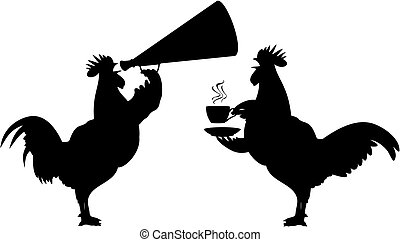 crowing rooster - black and white vector silhouettes of...