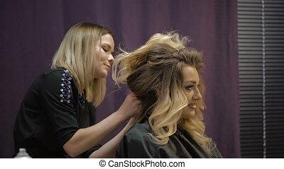 Woman in a beauty salon.