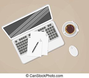 laptop and office supplies laying on the brown board. pen, papers, coffee cup, computer mouse, vector illustration in flat design