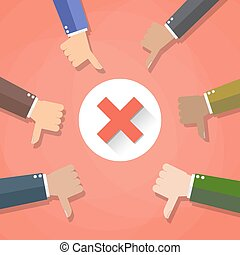 Six cartoon Businessmans hands hold thumbs down. negative checkmark in center, vector illustration flat design on red background.