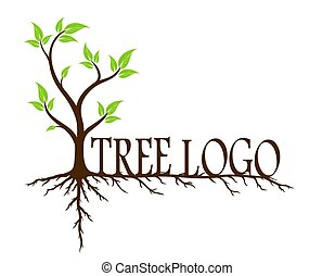 Green tree with roots - logo of green tree with root system...