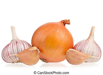 Raw fresh vegetables - Raw onions with garlic bulbs isolated...
