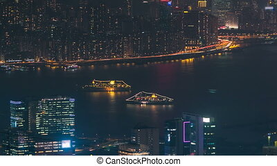 Hong Kong cityscape skyline from Fei ngo shan Kowloon Peak...