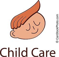 Child care logo - Baby face logo design. Baby care...