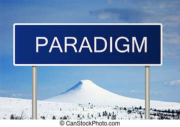 Road sign with text paradigm - A blue road sign with white...