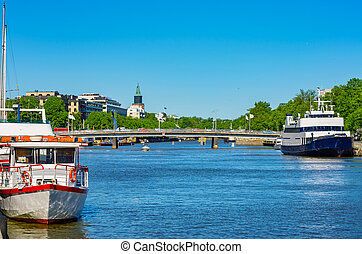 Cityscape of Turku Finland - View of the River Aura in Turku...
