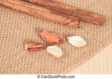 Tiger peanut  on wood table