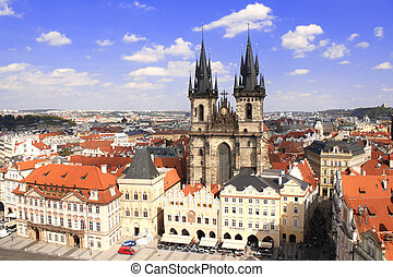 Tyn Church on Old Town Square, Prague, Czech Republic -...