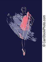 Vector hand drawing ballerina figure