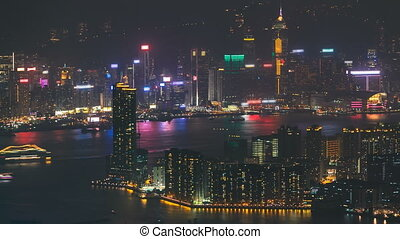 Top view of Hong Kong night cityscape, View from kowloon bay...