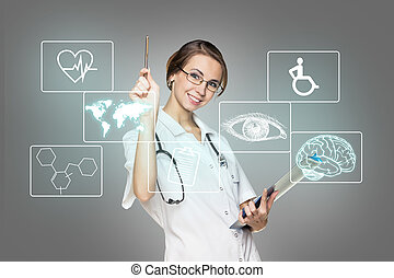 Female doctor in uniform touch hexagon with icons - Young...