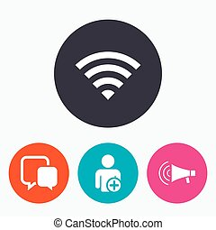 Wifi and chat bubbles Add user, megaphone - Wifi and chat...