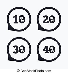 Sale discount icons. Special offer price signs.