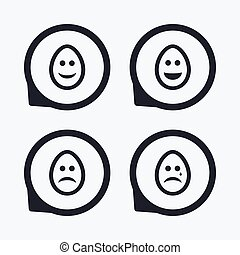 Eggs happy and sad faces signs Easter icons - Eggs happy and...