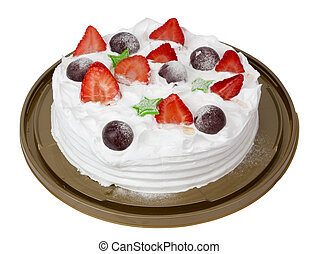 New Year's mass production pie from cream strawberry yogurt...