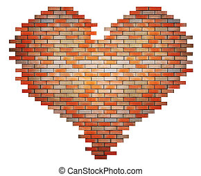 red brick heart concept