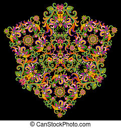 Devil Face abstract symbol in floral Turkish Persian style....