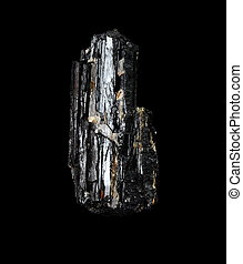 Rough black tourmaline, isolated on black background