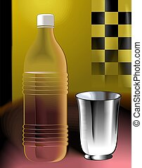 water bottle and glass  in colour background
