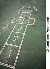 It is a hopscotch in yard for childern