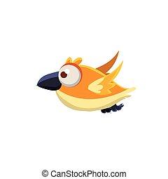 Cute Canary Bird - Vector Design Cute Orange Canary Mid-air...
