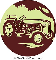 Vintage Farm Tractor Circle Woodcut - Illustration of a...